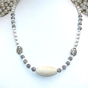 Silver and White Pearl Gemstone Necklace